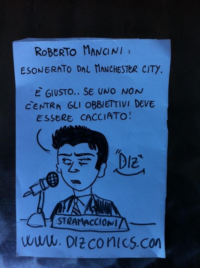 La vignetta del 14 maggio 2013 - Mancini esonerato dal Manchester City